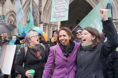 Munira Wilson and Sarah Olney celebrating outside the Court of Appeal